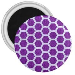 HEXAGON2 WHITE MARBLE & PURPLE DENIM 3  Magnets