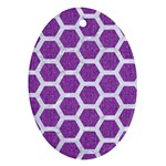 HEXAGON2 WHITE MARBLE & PURPLE DENIM Ornament (Oval) Front