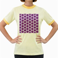 HEXAGON2 WHITE MARBLE & PURPLE DENIM Women s Fitted Ringer T-Shirts