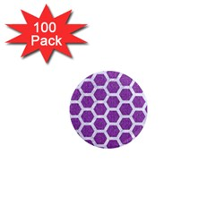 Hexagon2 White Marble & Purple Denim 1  Mini Magnets (100 Pack)  by trendistuff