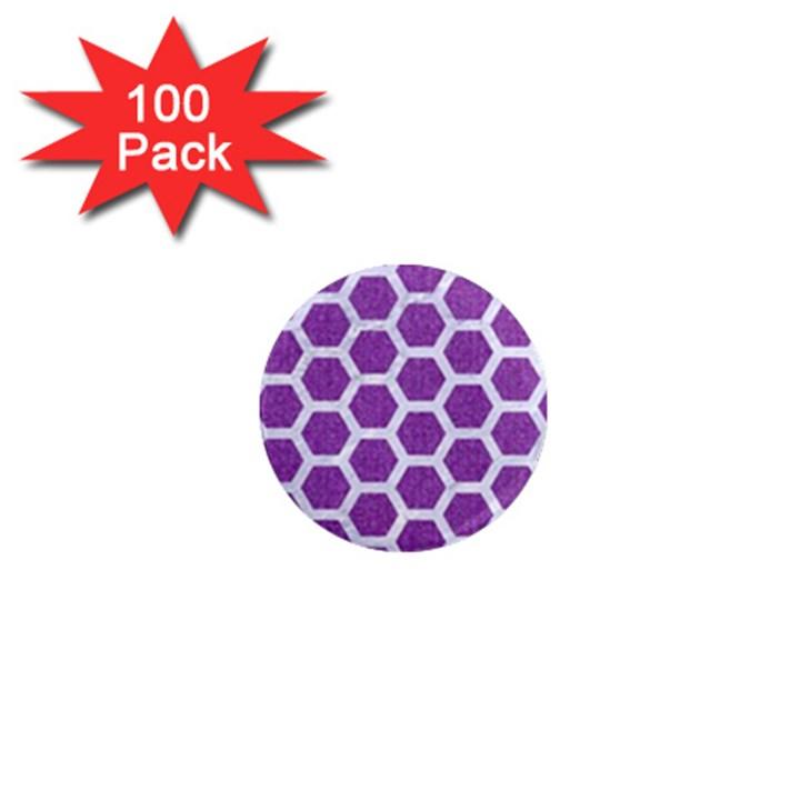 HEXAGON2 WHITE MARBLE & PURPLE DENIM 1  Mini Magnets (100 pack)
