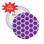 HEXAGON2 WHITE MARBLE & PURPLE DENIM 2.25  Buttons (10 pack)  Front