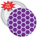 HEXAGON2 WHITE MARBLE & PURPLE DENIM 3  Buttons (100 pack)
