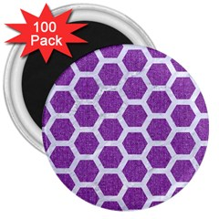 Hexagon2 White Marble & Purple Denim 3  Magnets (100 Pack) by trendistuff