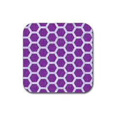Hexagon2 White Marble & Purple Denim Rubber Square Coaster (4 Pack)