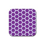 HEXAGON2 WHITE MARBLE & PURPLE DENIM Rubber Square Coaster (4 pack)  Front
