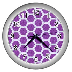 Hexagon2 White Marble & Purple Denim Wall Clocks (silver)