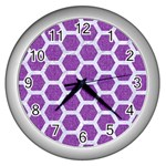 HEXAGON2 WHITE MARBLE & PURPLE DENIM Wall Clocks (Silver)  Front