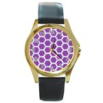HEXAGON2 WHITE MARBLE & PURPLE DENIM Round Gold Metal Watch Front