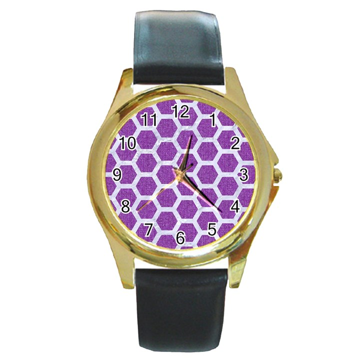 HEXAGON2 WHITE MARBLE & PURPLE DENIM Round Gold Metal Watch