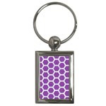 HEXAGON2 WHITE MARBLE & PURPLE DENIM Key Chains (Rectangle)  Front
