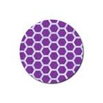 HEXAGON2 WHITE MARBLE & PURPLE DENIM Rubber Coaster (Round)