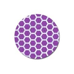 HEXAGON2 WHITE MARBLE & PURPLE DENIM Magnet 3  (Round)