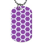 HEXAGON2 WHITE MARBLE & PURPLE DENIM Dog Tag (One Side)