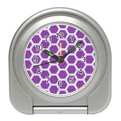 HEXAGON2 WHITE MARBLE & PURPLE DENIM Travel Alarm Clocks
