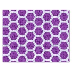 Hexagon2 White Marble & Purple Denim Rectangular Jigsaw Puzzl