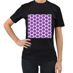 HEXAGON2 WHITE MARBLE & PURPLE DENIM Women s T-Shirt (Black) (Two Sided) Front