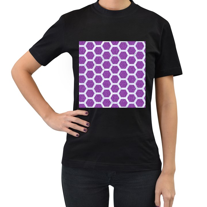 HEXAGON2 WHITE MARBLE & PURPLE DENIM Women s T-Shirt (Black) (Two Sided)