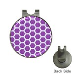 HEXAGON2 WHITE MARBLE & PURPLE DENIM Hat Clips with Golf Markers Front
