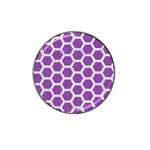 HEXAGON2 WHITE MARBLE & PURPLE DENIM Hat Clip Ball Marker (4 pack) Front