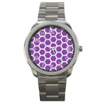 HEXAGON2 WHITE MARBLE & PURPLE DENIM Sport Metal Watch Front