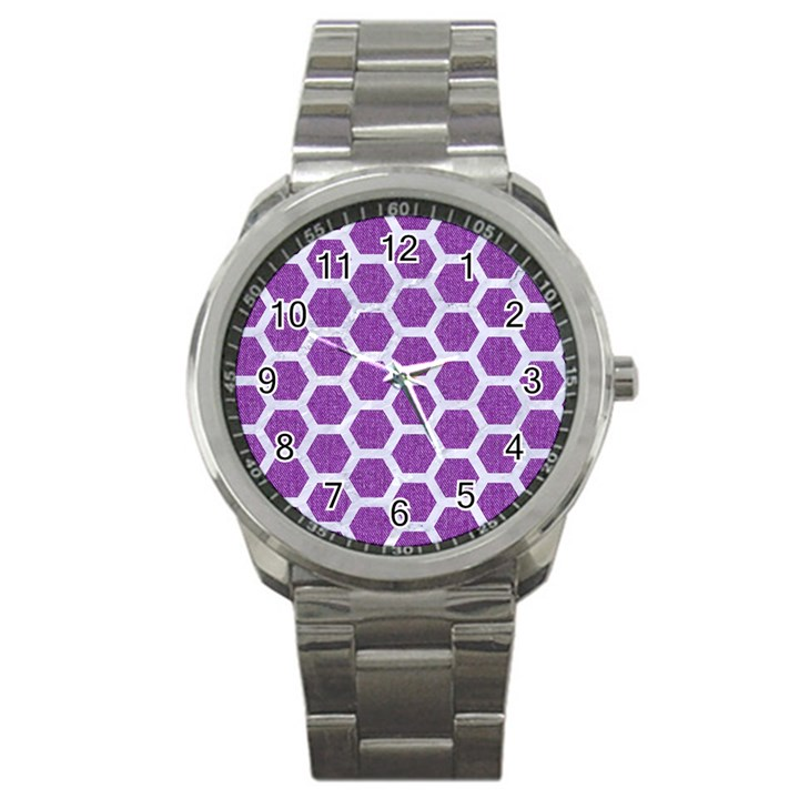HEXAGON2 WHITE MARBLE & PURPLE DENIM Sport Metal Watch