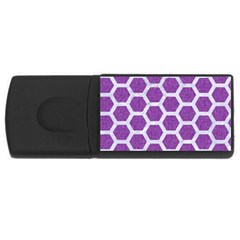Hexagon2 White Marble & Purple Denim Rectangular Usb Flash Drive