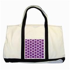 HEXAGON2 WHITE MARBLE & PURPLE DENIM Two Tone Tote Bag