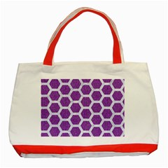 Hexagon2 White Marble & Purple Denim Classic Tote Bag (red)