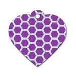 HEXAGON2 WHITE MARBLE & PURPLE DENIM Dog Tag Heart (Two Sides) Front