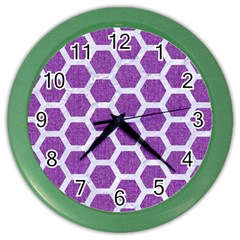 Hexagon2 White Marble & Purple Denim Color Wall Clocks