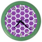 HEXAGON2 WHITE MARBLE & PURPLE DENIM Color Wall Clocks Front