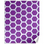 HEXAGON2 WHITE MARBLE & PURPLE DENIM Canvas 11  x 14   14 x11 Canvas - 1
