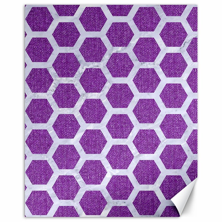 HEXAGON2 WHITE MARBLE & PURPLE DENIM Canvas 11  x 14