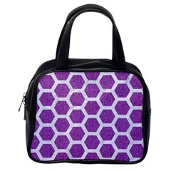 Hexagon2 White Marble & Purple Denim Classic Handbags (one Side)