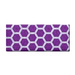 HEXAGON2 WHITE MARBLE & PURPLE DENIM Cosmetic Storage Cases Front