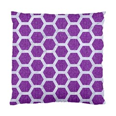 Hexagon2 White Marble & Purple Denim Standard Cushion Case (two Sides)