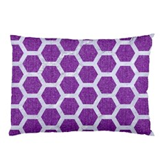 Hexagon2 White Marble & Purple Denim Pillow Case