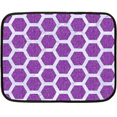 Hexagon2 White Marble & Purple Denim Fleece Blanket (mini)
