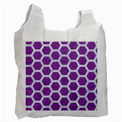 HEXAGON2 WHITE MARBLE & PURPLE DENIM Recycle Bag (One Side)