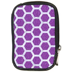 Hexagon2 White Marble & Purple Denim Compact Camera Cases