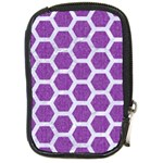 HEXAGON2 WHITE MARBLE & PURPLE DENIM Compact Camera Cases Front