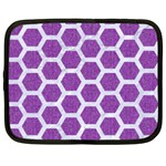 HEXAGON2 WHITE MARBLE & PURPLE DENIM Netbook Case (XXL)  Front