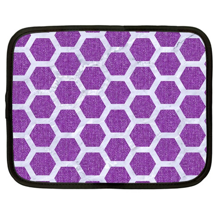 HEXAGON2 WHITE MARBLE & PURPLE DENIM Netbook Case (XXL)