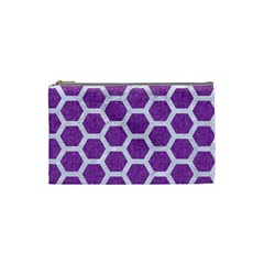Hexagon2 White Marble & Purple Denim Cosmetic Bag (small)  by trendistuff