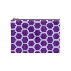 Hexagon2 White Marble & Purple Denim Cosmetic Bag (medium)  by trendistuff
