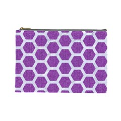 Hexagon2 White Marble & Purple Denim Cosmetic Bag (large)