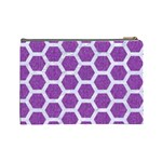HEXAGON2 WHITE MARBLE & PURPLE DENIM Cosmetic Bag (Large)  Back