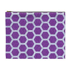 Hexagon2 White Marble & Purple Denim Cosmetic Bag (xl) by trendistuff