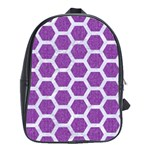HEXAGON2 WHITE MARBLE & PURPLE DENIM School Bag (Large) Front
